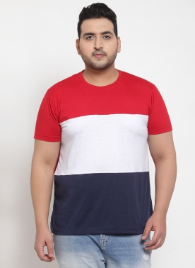 Men Red & White Colourblocked Round Neck T-shirt