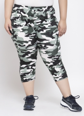 Women Grey & White Printed Regular Fit Capris