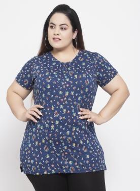 Women Blue Printed Round Neck T-shirt