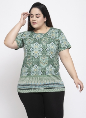 Women Green Printed Round Neck T-shirt