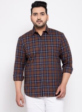 Men Brown & Black Regular Fit Checked Casual Shirt