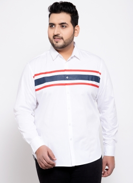Men White Comfort Regular Fit Solid Casual Shirt