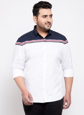 Men White Comfort Regular Fit Solid Casual Shirt