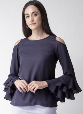 Women Navy Blue Solid Top