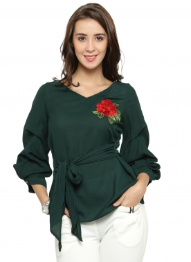 Green Puff Sleeves Ruffled A-Line Top